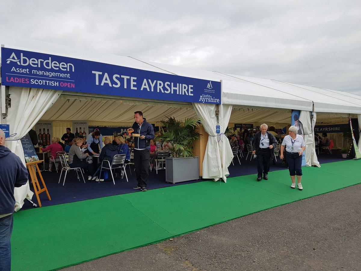 Lots of people enjoying a bite to eat in the Taste Ayrshire marquee at @DundonaldLinks #LadiesScottishOpen