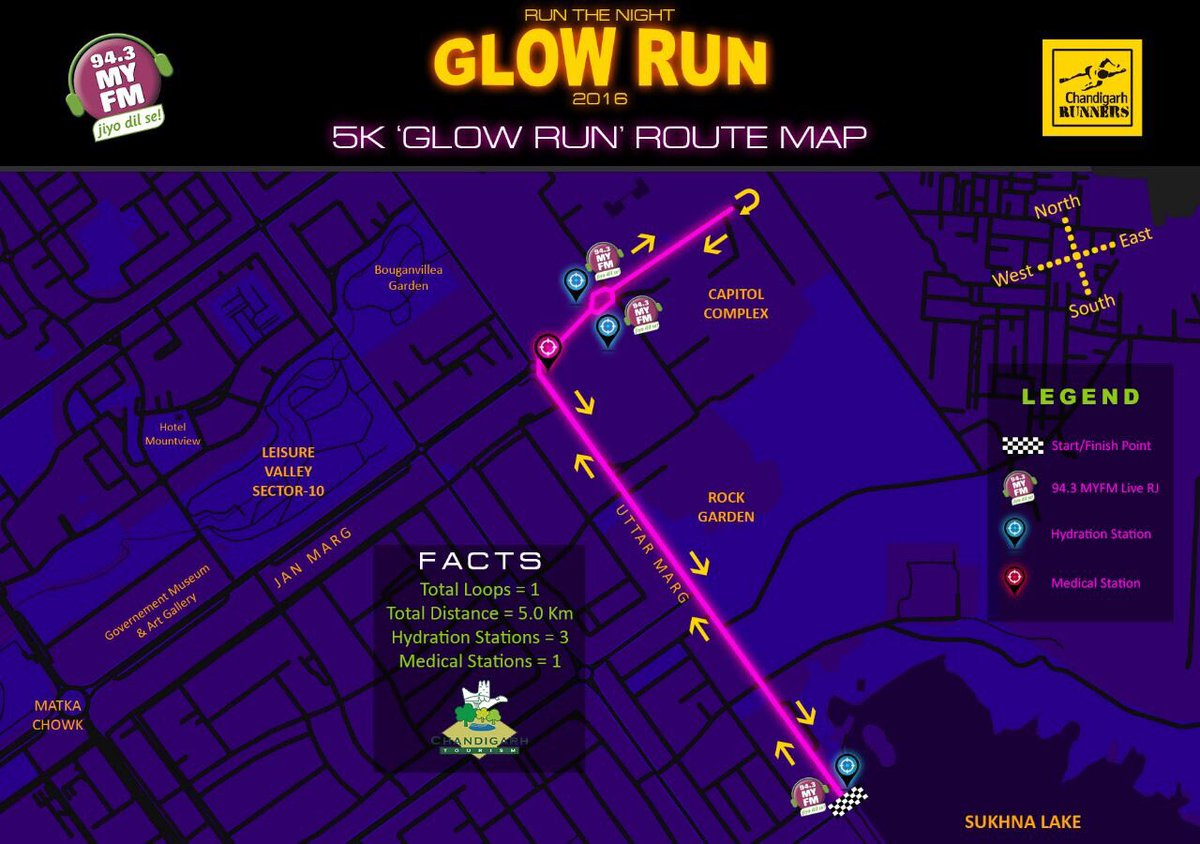 "rj meenakshi on twitter: ""route map ""glow run "" . first ever night"