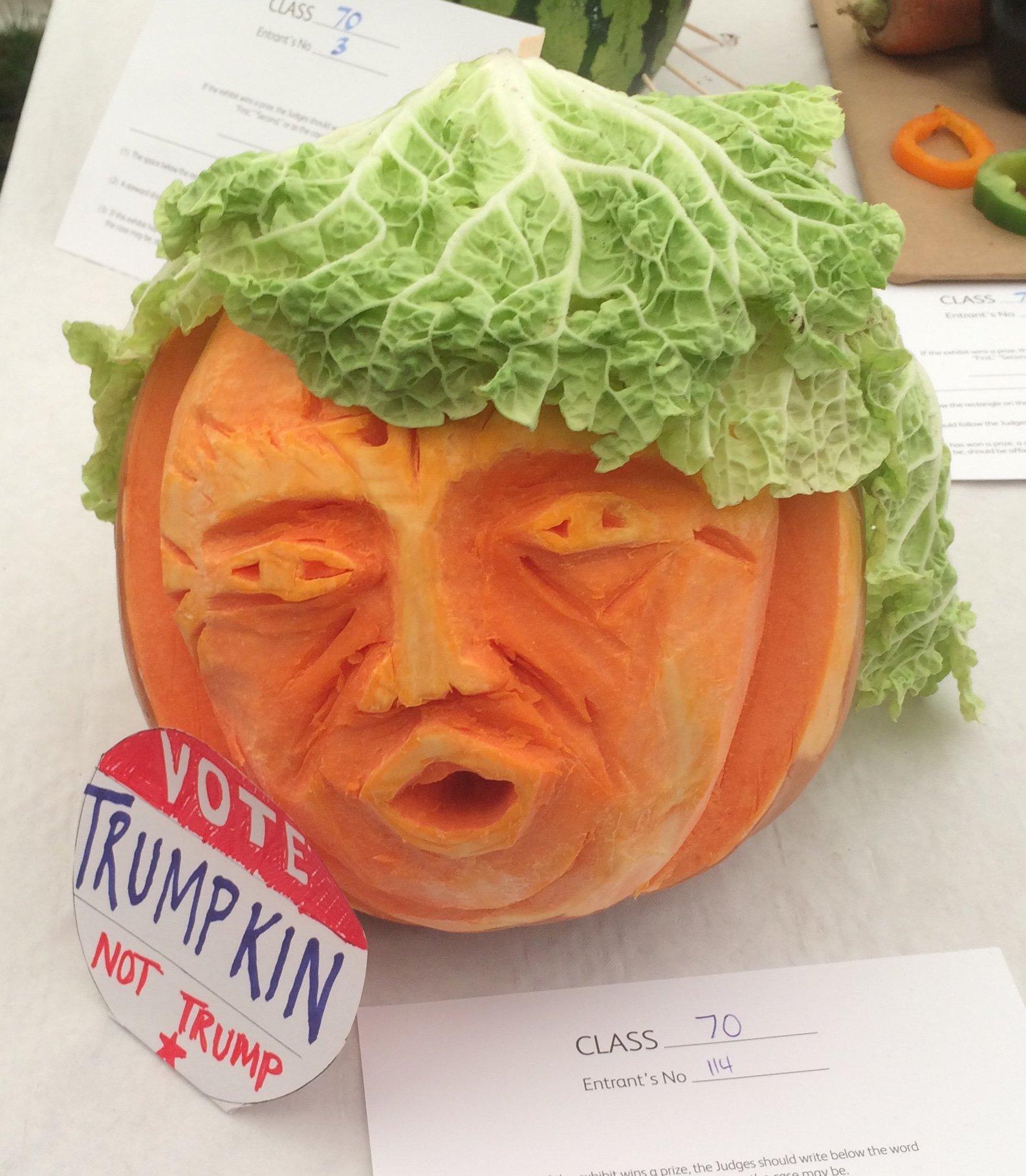 Top Trumps! Reminiscing about last week's #LambethCountryShow veg sculptures! #Trump #wonkyveg https://t.co/CKGK9vNq12