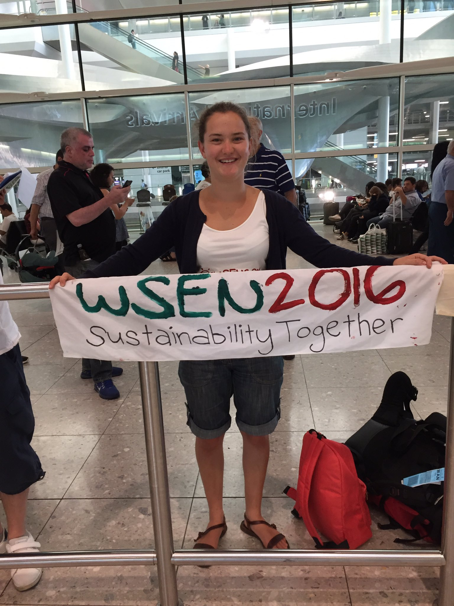Brechje waiting to welcome some more delegates for #WSEN2016 #SustainabilityTogether https://t.co/GCFncgEu72