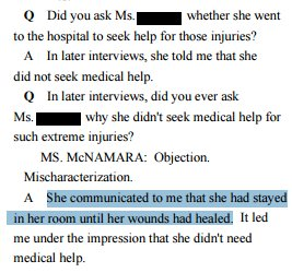 Erdely (describing hrs-long attack/broken glass) guessed Jackie recovered from her injuries by staying in her room. https://t.co/F0vrub5NtA