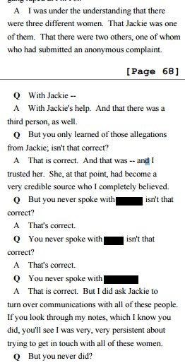 Erdely eventually concedes: Jackie was her sole source for claim that 3 diff people raped at fraternity. https://t.co/TBaXXbeMo5