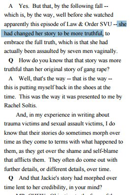 "Orwellian line from Erdely: Jackie ""had changed her story to be more truthful."" https://t.co/jlT8sD5aaN"