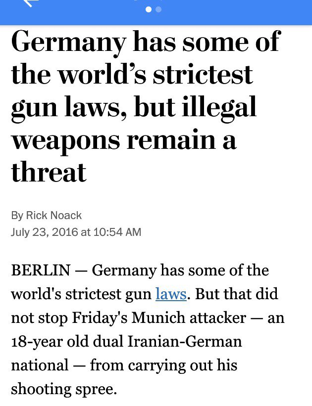 Despite strict govt control their mass shootings continue. I wonder if Europe still mocks us for our gun culture? https://t.co/PsmOeEID69