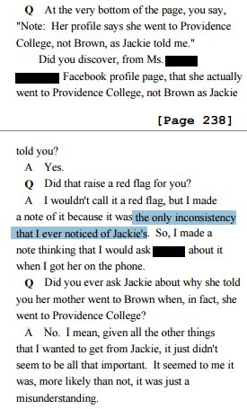 "In story filled w/inconsistencies, ""only"" inconsistency Erdely *noticed* was Jackie gave wrong college for mother. https://t.co/Cf7rpt9jM6"