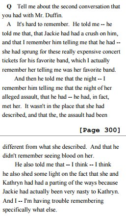 Erdely finally speaks to Jackie's friend (1mo after article appears); learns all she was told abt him was a lie. https://t.co/Al58nmqbkb