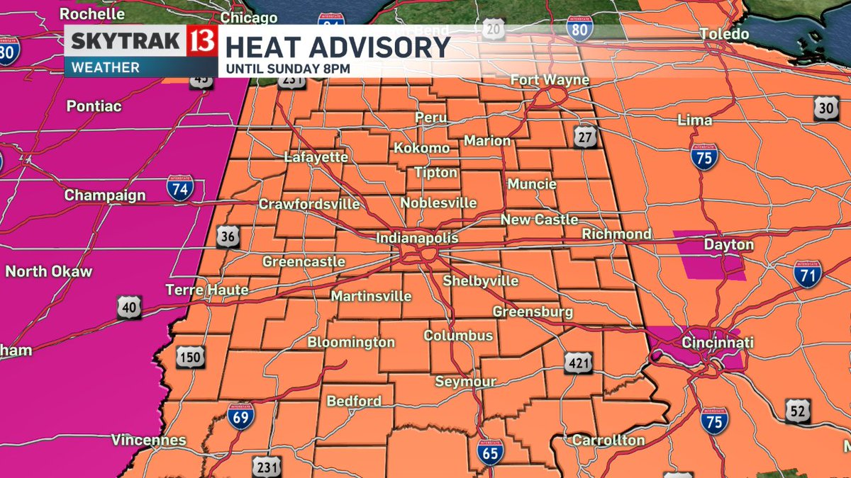 The Heat Advisory has been extended until 8pm Sunday due to high heat and high humidity. @wthrcom INwx
