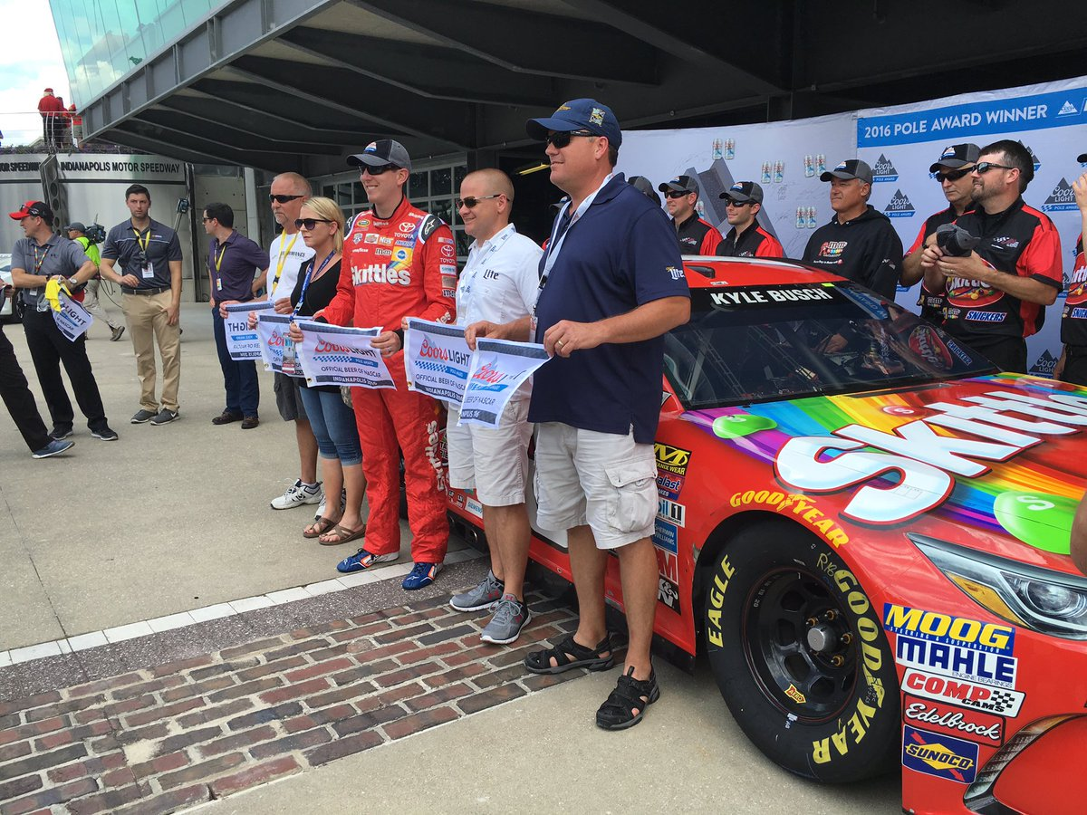 Kyle Busch will work to defend his Brickyard 400 win from the pole Sunday.