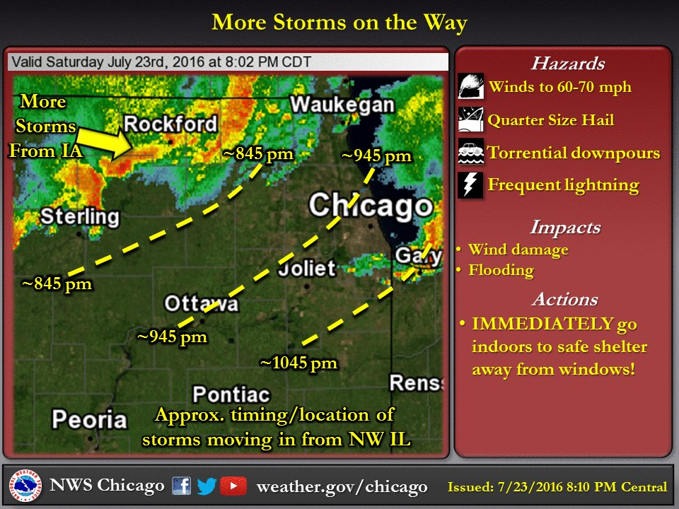 Strong to severe storms continue to approach. Torrential rain, frequent lightning, possible damaging wind. ilwx
