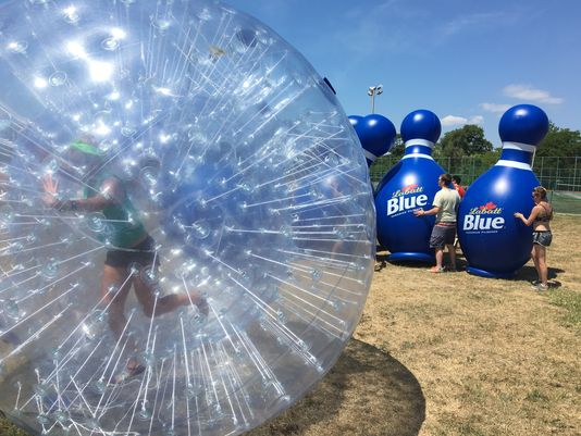 Human Hamster Ball + Blatz beer = fun on Belle Isle