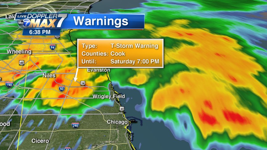 Severe T'storm Warning continues until 7 pm for most of Cook County. Heaviest at 6:40 is over city's northwest side