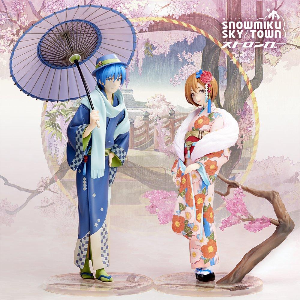 雪ミクスカイタウンの初音ミクに続く花色衣フィギュアシリーズ、MEIKO~花色衣~KAITO~花色衣~本日のワンフェスにて彩色原型の発表です!商品のご予約は29日(金)9時から!! pic.twitter.com/YN8yV36uFW