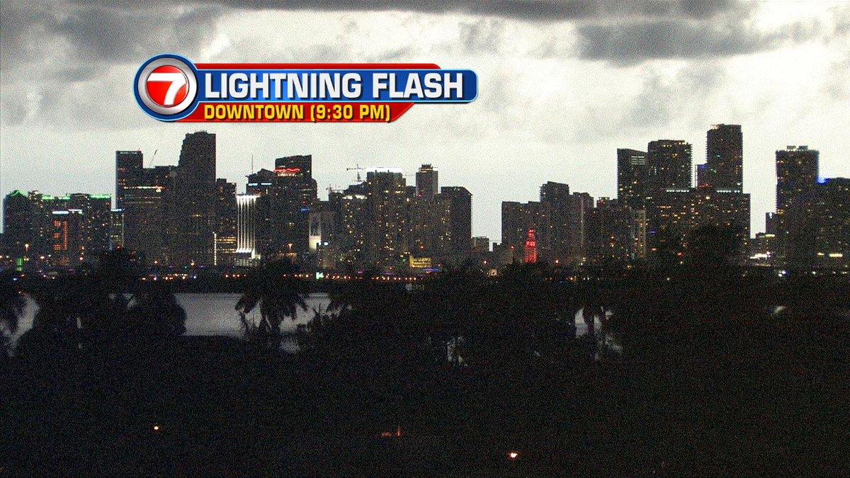 Lightning flash lighting up downtown #miami just minutes ago