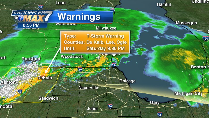 At 8:55, strong-severe storms r approaching from west. They should reach Naperville-Wheaton by 9 & Chicago by 10-11