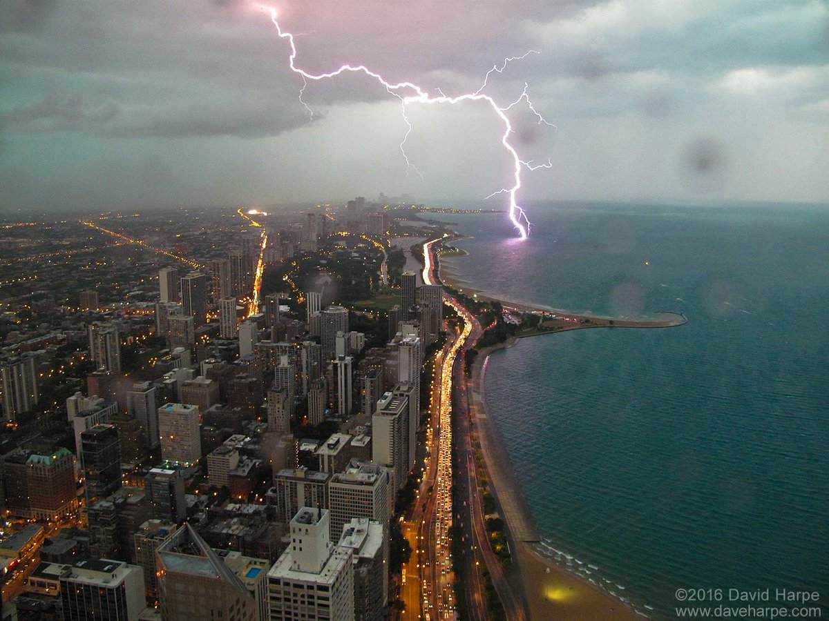 WOW! What a great shot of a lightning strike into Lake Michigan
