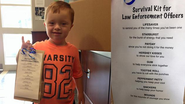 """This young boy dropped off sweet """"survival kits"""" for his local police officers."""