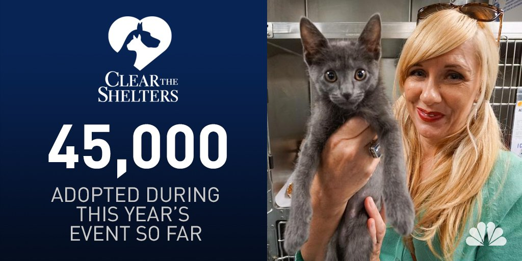 45,000 pets across the country have been adopted thanks to ClearTheShelters!