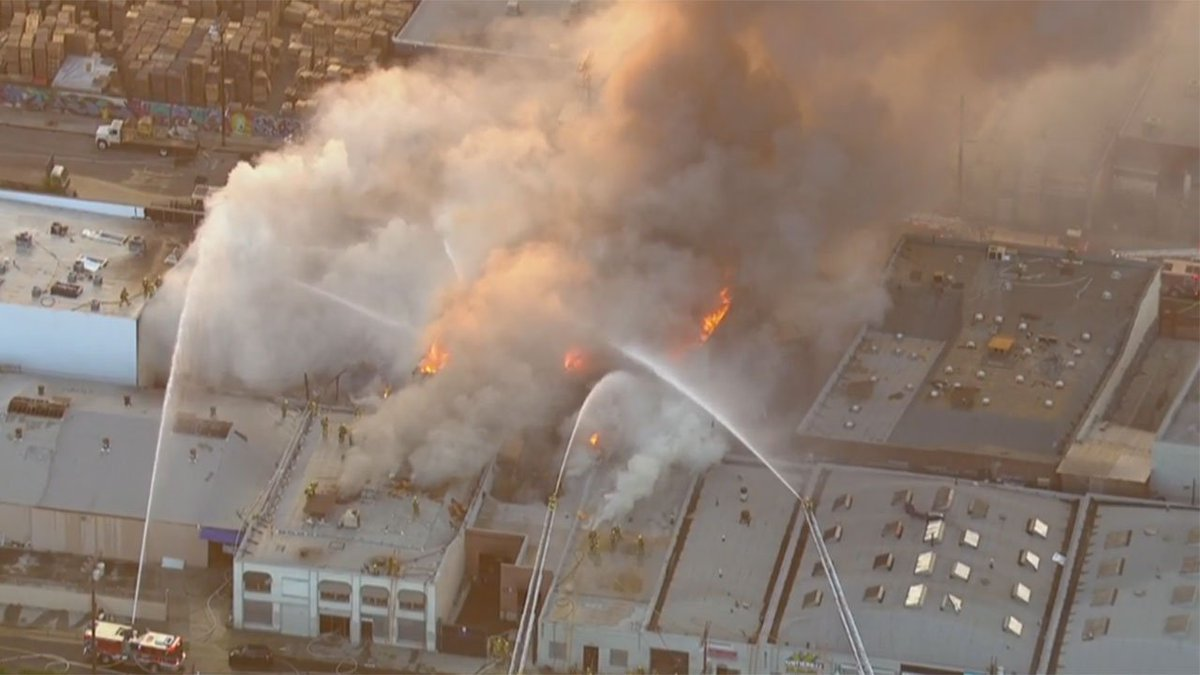 Six commercial buildings damaged, 1 destroyed in downtown LA fire at textile business