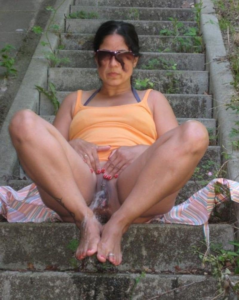 Outdoors grandmas pissing