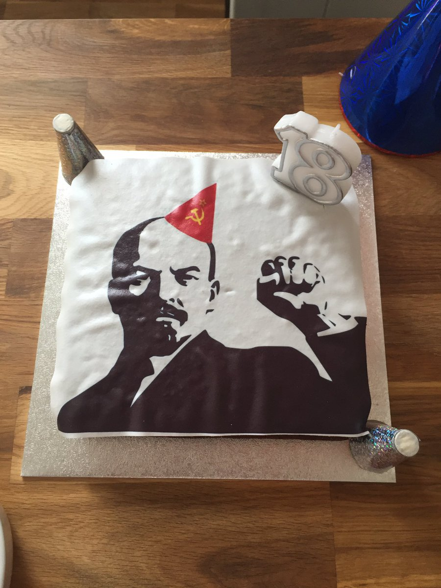 Not saying my son takes after me in love of puns, but for his sister's birthday he's made her a 'Lenin Drizzle Cake'