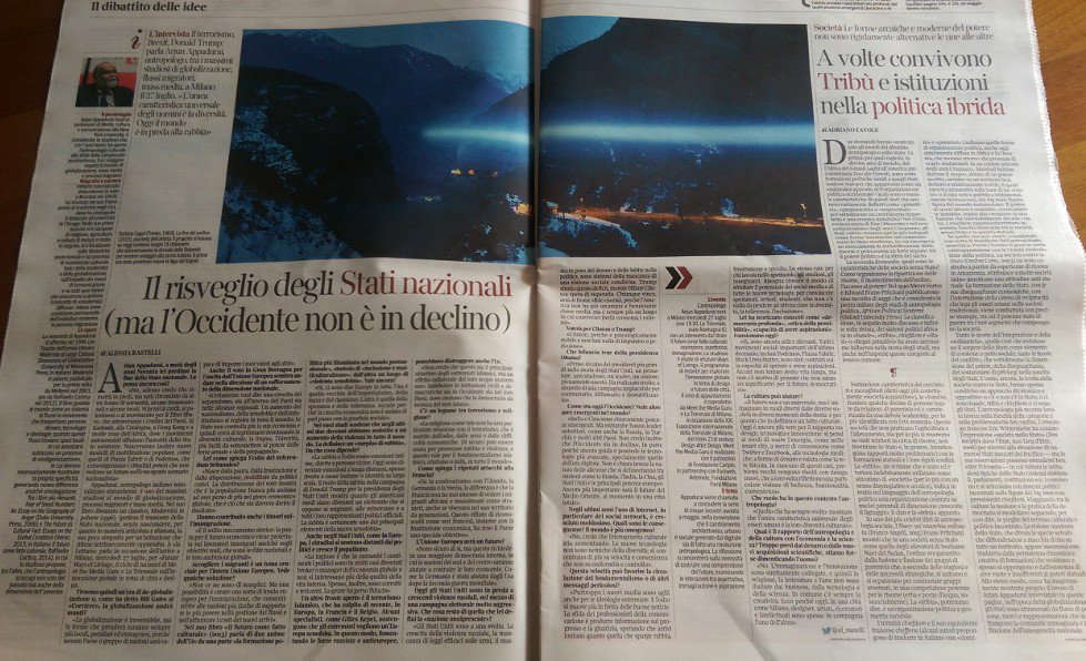 2 pagine su #Appadurai ne @La_Lettura.Grz a @al_rastelli per l'intervista. Il 27 tutti a @LaTriennale x #futureways https://t.co/ce8u0InTlI