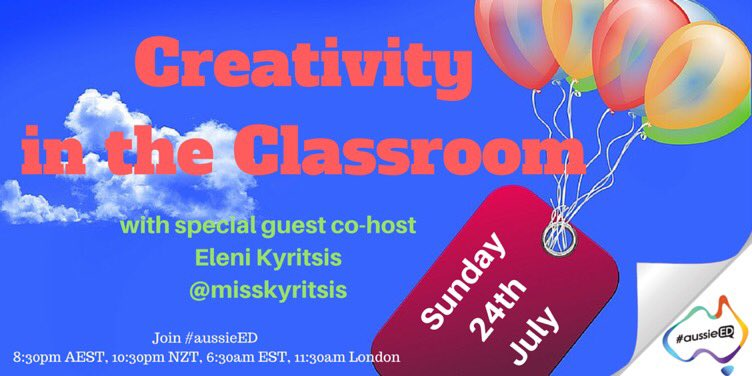 Get ready as @TeachTechPlay's own @misskyritsis joins #aussieED in 30mins to talk Creativity https://t.co/jcCr9bTsry
