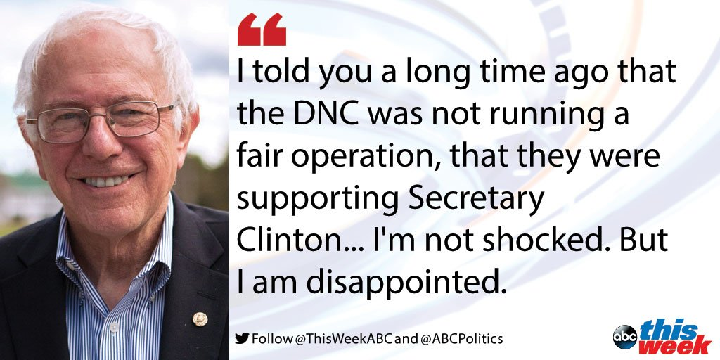 Bernie Sanders calls for Wasserman Schultz to resign in wake of DNC email leaks https://t.co/YagGwUlzXC #ThisWeek