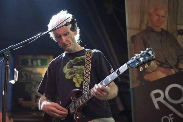 The Doors' Robby Krieger performed a free set at the Fremont Street Experience last night