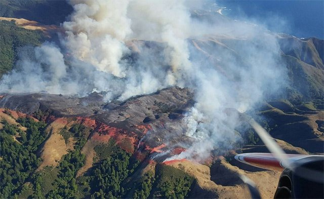 A wildfire near Big Sur has grown to 10,000 acres over two days.