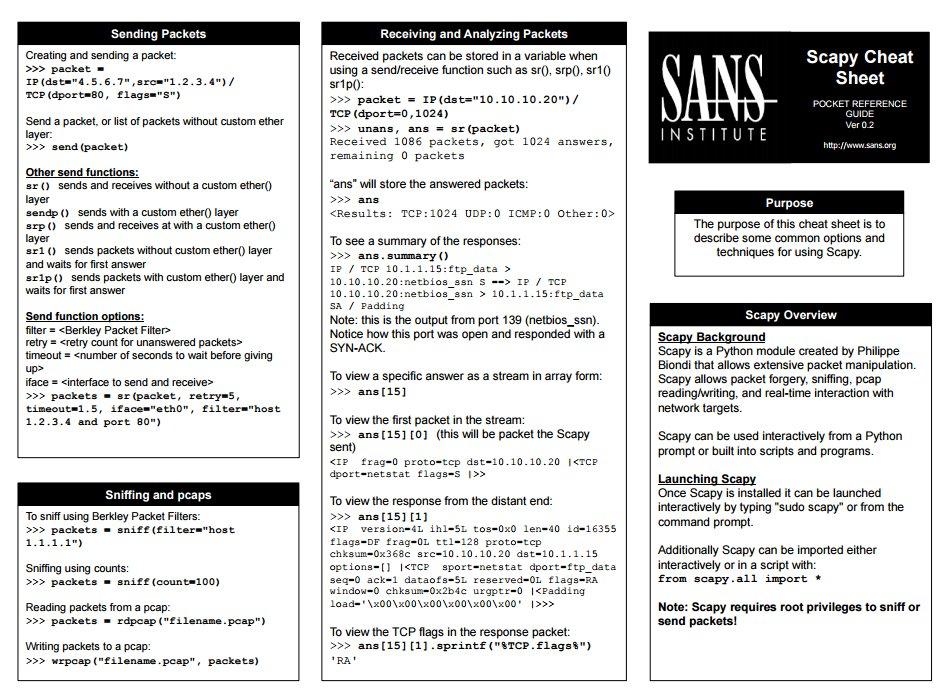 Scapy Cheat Sheet 2pg-PDF > https://t.co/HJVdgIpbDa   Learn Scapy w/ @edskoudis > SEC560: https://t.co/FH2CvJJynu https://t.co/ABjhwsX9Fh