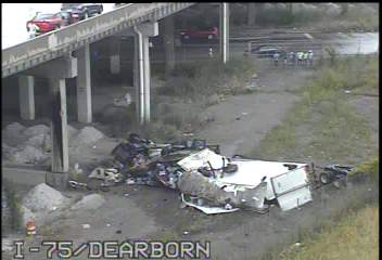 Witnesses tell 7 Action News a semi went over a bridge on I-75 at Dearborn St.