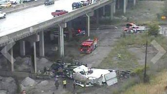 Semi overturns on NB interstate I75, falls off Rouge River bridge