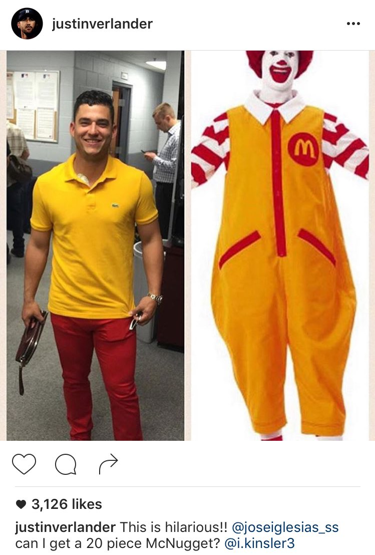 Justin Verlander poking fun at Jose Iglesias and his Ronald McDonald outfit.