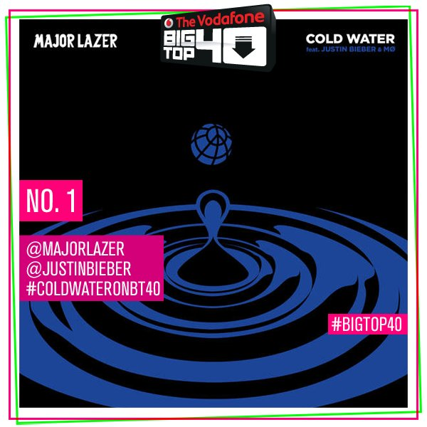 .@justinbieber joins the list of epic 2016 No.1s with his brand new song #ColdWaterOnBT40