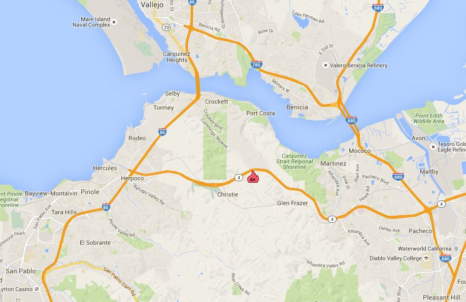 Firefighters are battling 40 acre fire off Cummings Skwy & Franklin Cyn, SE of Rodeo (Contra Costa Co) FranklinFire