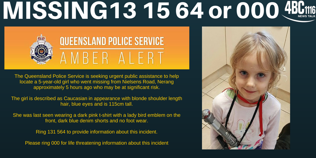 A massive search continues on the #GoldCoast for a 5 y/o girl missing for more than 12 hours.  #AmberAlert https://t.co/FU4HmmJtjB