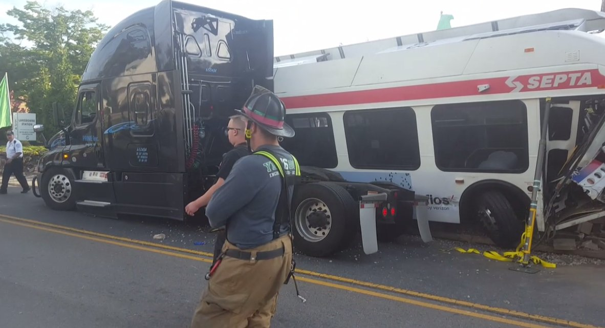 NEW: Several injured after SEPTA bus & tractor trailer collide in Yeadon, PA. Pic: Michael Gray via @fresconews