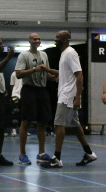 Couple off days old but GOLD. Had the pleasure to give a clinic under the watch of  #KobeAcademy. #blackmamba and I.