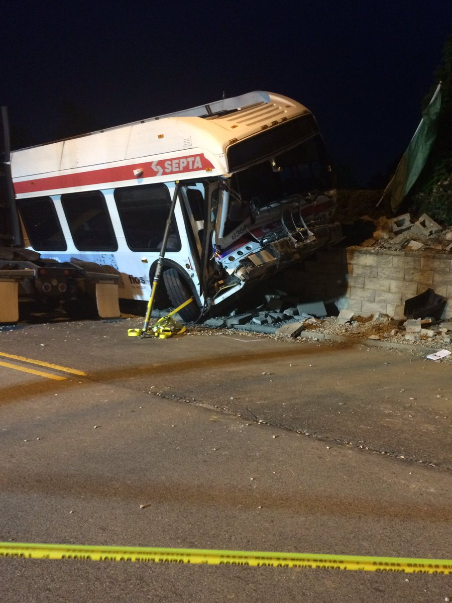 28 people to hospitals after traffic mishap forces Septa bus off road in Yeadon. Issue now how to untangle bus.