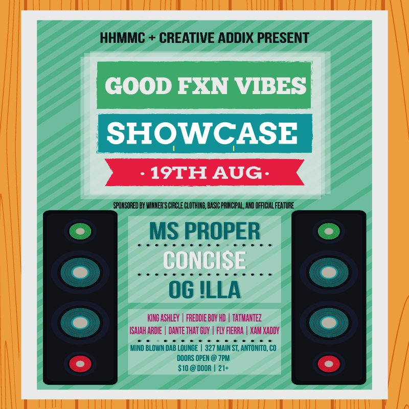 #GoodFXNVibes 8/19th performance by @MsProper ft @concise804 @hlgnlife https://t.co/xM65NO3z1y