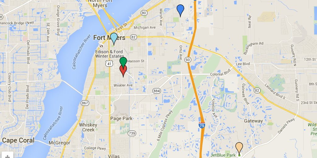 MAP: Locations involved in the Fort Myers, Fla., shootings
