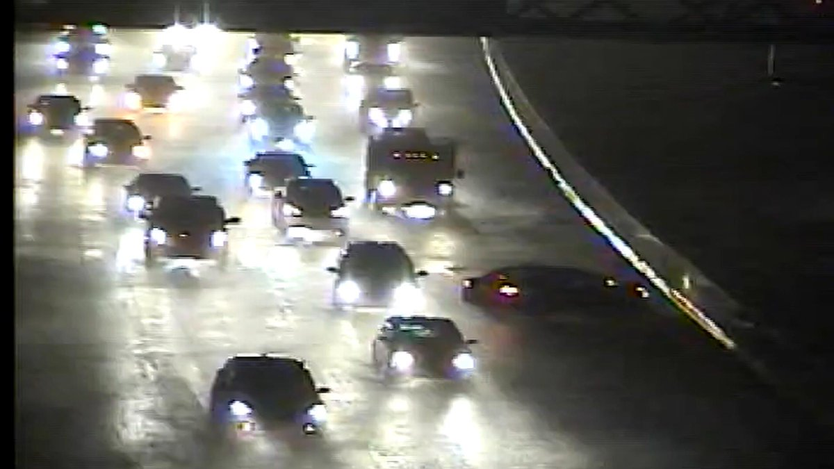 95 South @ Academy Road, Left Lane Blocked with Accident and Heavy Rain flooding roadways @fox29philly