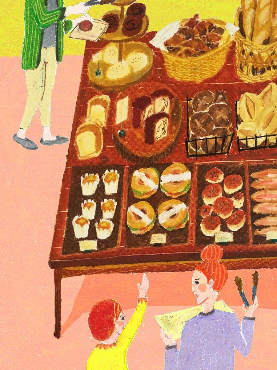 タムロアヤノ 10 15 アンノウンアジア展示 パンイラスト店内バージョン パン屋さんで選ぶってなるとやたら迷うんですよねー ウロウロ パン特集のイラストのお仕事がしたい 雑誌 挿絵 イラスト パン屋 パン