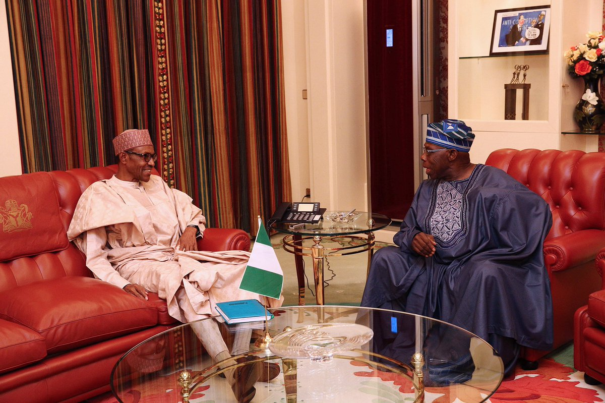 PHOTOS: Former President Olusegun Obasanjo after a close door meeting with Buhari