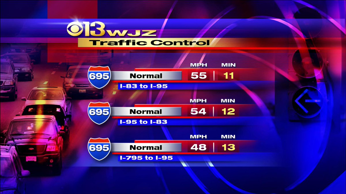 Starting to see minor delays on the westside OL of the beltway. Avg. speed 48mph @cbsbaltimore