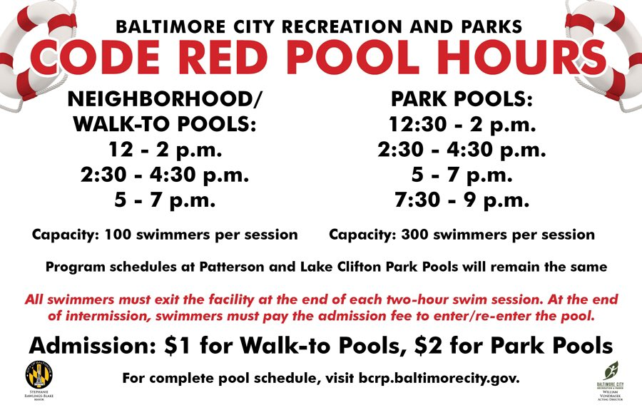 Code Red pool schedule today, July 25! Drink lots of water & wear sunblock. Safety first!