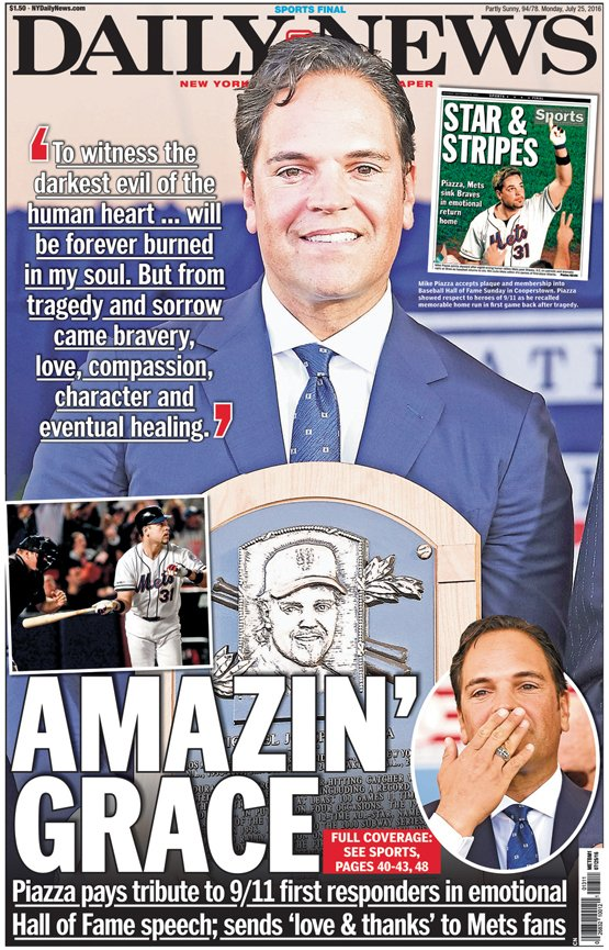 Today's front page: AMAZIN' GRACEPiazza pays tribute to 9/11 responders in HoF speech