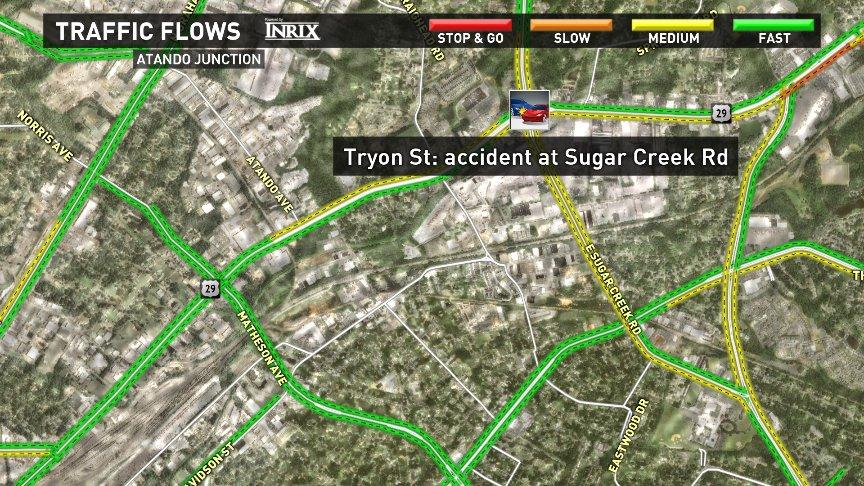 Crash on Tryon St at Sugar Creek Rd. clttraffic