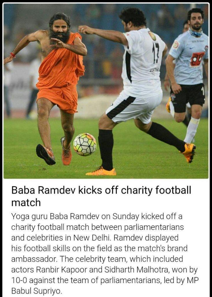 Rofl 😂 this is hilarious.. #BabaRamdev or #BabaMessi 😂Btw is dat a Patanjali Football?