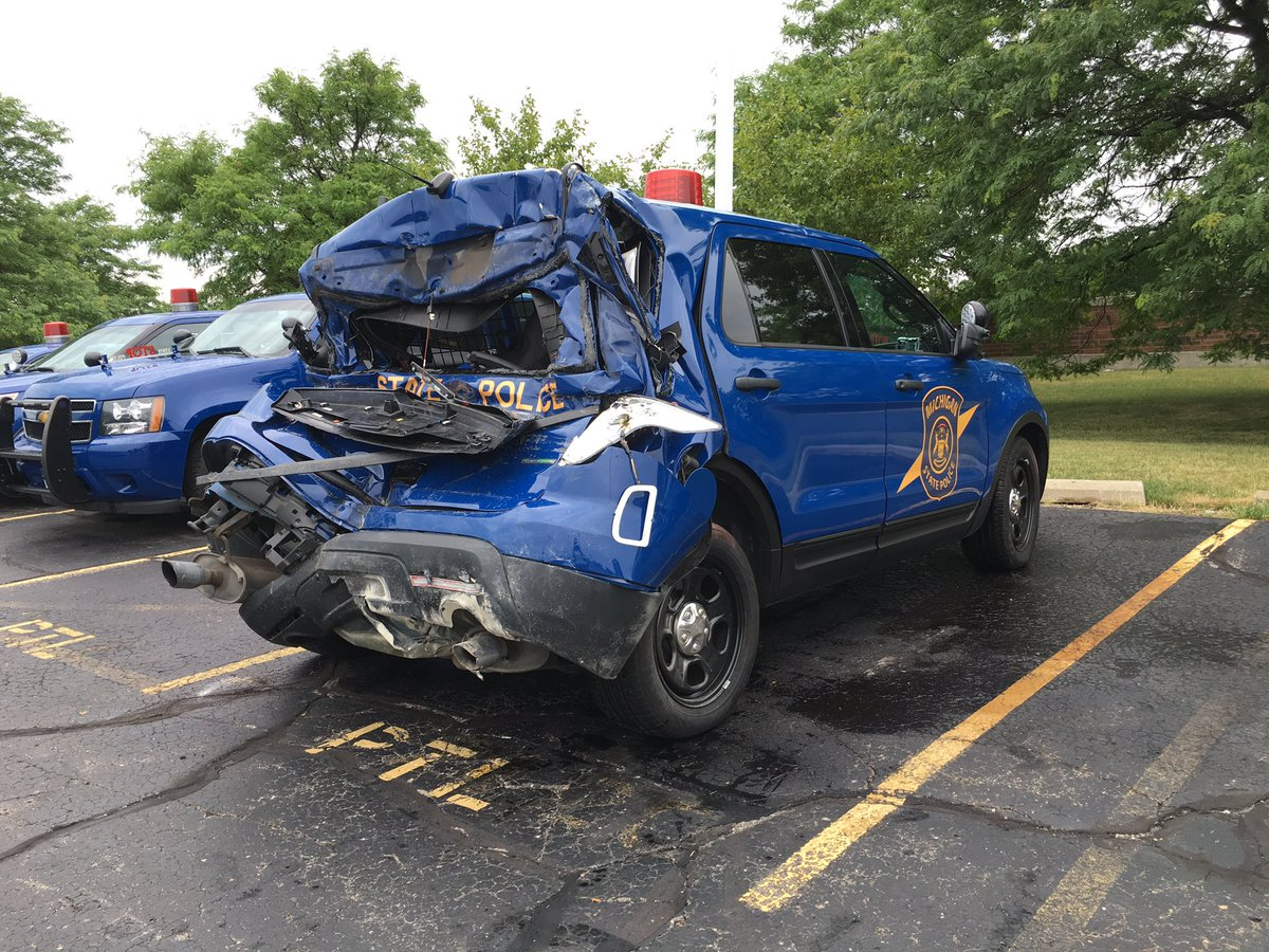 MSP trooper hit by driver who ignored MI Move Over Law. Instead of merging left, the driver hit trooper on the right